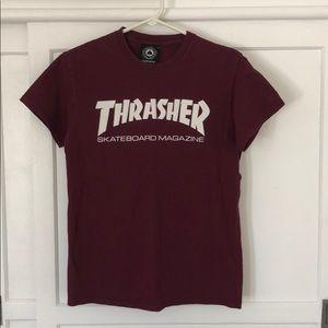 Thrasher Skateboard T-shirt Maroon Size Small